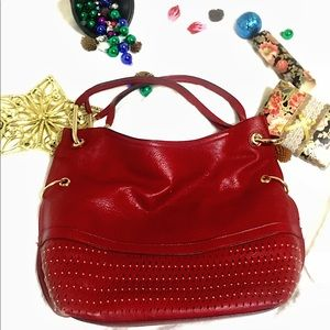 Handbags - Fashionable Red Leather Purse,Gold Studded Details